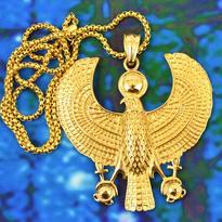 Amulet - Horus sokol, titanová ocel pozlacená
