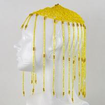 Korálková čepička pro břišní tanec, žlutá