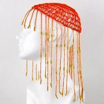 Korálková čepička pro břišní tanec, oranžová