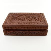 Dřevěná velká krabice na karty, řezba