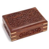 Dřevěná krabice na tarotové karty, zdobená řezbou