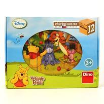 Dřevěné obrázkové kostky - Medvídek Pú