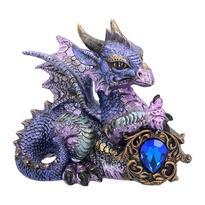 Fantasy soška - Fialový drak s drahokamem