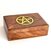 Dřevěná krabička na tarot s pentagramem 17,5 cm