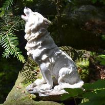 Fantasy soška Sněžný vlk - sedící