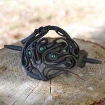 Fantasy spona Mechový šaman - malachit