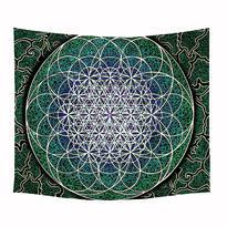 Šátek - přehoz Květ Života - modrá / zelená