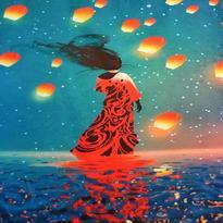 Šátek - přehoz Tanečnice na vlnách