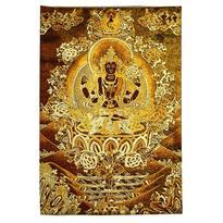 Tkaný gobelín Tibet zlatý - Avalókitéšvara
