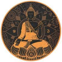 Nástěnné hodiny Zlatý Buddha