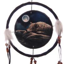 Lapač snů - vlk a měsíc, 16 cm
