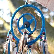 Lapač snů s mušlí - barva tyrkysová