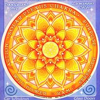 Mandala na sklo čakrová - 3. čakra Manipura
