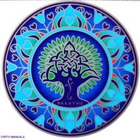 Mandala na sklo - Dech Země - velká Sunseal