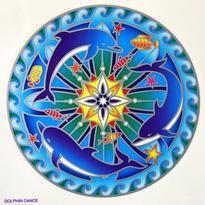Mandala na sklo - Tři delfíni - velká Sunseal