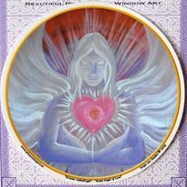 Mandala na sklo - Velký anděl lásky