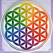 Mandala na sklo - Květ Života duhový