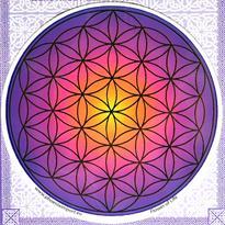 Mandala na sklo - Květ Života fialový