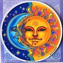 Mandala na sklo - Slunce a Měsíc