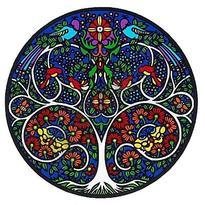 Mandala na sklo - Strom života - velká Sunseal