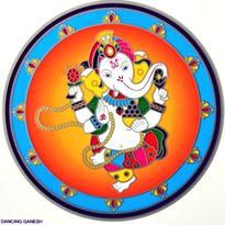 Mandala na sklo - Tančící Ganesha - velká Sunseal