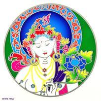 Mandala na sklo - Bílá Tara- velká Sunseal