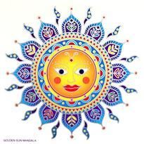 Mandala na sklo - Indické slunce - velká Sunseal