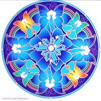 Mandala na sklo - Křišťálové víly - velká Sunseal