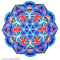 Mandala na sklo - Kruh přátel - velká Sunseal