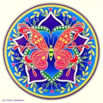 Mandala na sklo - Motýl - velká Sunseal
