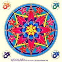 Mandala na sklo - Óm v květu- velká Sunseal