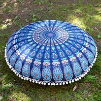 Meditační polštář kulatý Modrá Mandala 80 cm