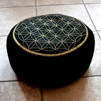 Meditační polštář - Květ života, barva černá
