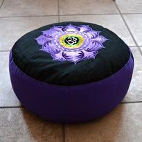 Meditační polštář - Lotos & Óm, barva fialová