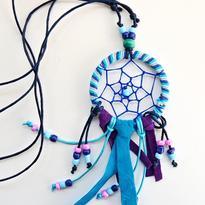 """Náhrdelník """"Lapač snů - mandala"""", barva modrá"""
