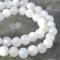 Náhrdelník Měsíční kámen pravý bílý, kuličky 6 mm