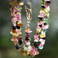 Náhrdelník Turmalín barevný drobné kamínky 45 cm