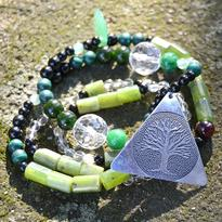 Náhrdelník Zelené Srdce Přírody - nefrit, turmalín