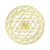 Nálepka set 4 + 1 - Sri Yantra, zlatá