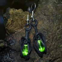 Fantasy náušnice Tajemství lesní tůňky - zelená