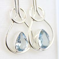Náušnice Topaz modrý Elegance, stříbro Ag 925
