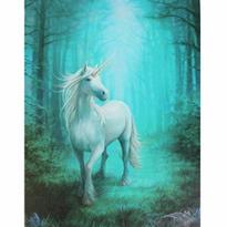 Obraz fantasy - Bílý jednorožec v pralese