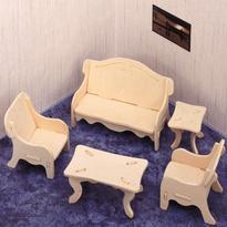 Obývací pokoj - 3D puzzle dřevěné