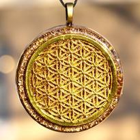 Přívěsek orgonit - Květ Života zlatý