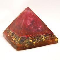 Orgonitová pyramida 5 cm, magenta - křišťál