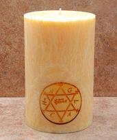 Svíčka Šalamounův hexagram 7,6 x 15 cm
