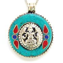 Medailon Ganesha, tyrkysový