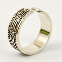 Prsten s trigramy Ba - Gua stříbrný rozevírací - M