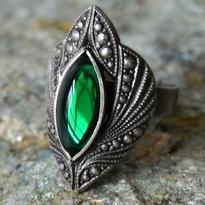 Fantasy prsten Lesní elf - zelená