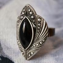 Fantasy prsten - Magická ochrana, černý